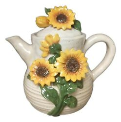 Sunflowers Hand-painted Ceramic Teapot, By Blue Sky Ceramics, 8.5 Tall