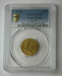 1790 Great Britain Guinea 1/2 Gold Coin S-3735 Pcgs Vf 35 88946jr