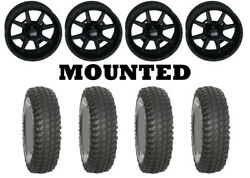 Kit 4 System 3 Xcr350 Tires 30x10-14 On Frontline 556 Stealth Matte Black Can