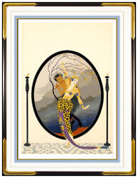 ERTE Color Serigraph Woman Satyr Set Design Signed Romain Tirtoff Deco Artwork
