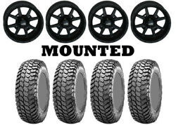 Kit 4 Maxxis Liberty Tires 28x10-14 On Frontline 556 Stealth Matte Black Sra