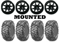 Kit 4 Maxxis Bighorn 2.0 Tires 27x9-14 On Frontline 556 Stealth Matte Black Sra