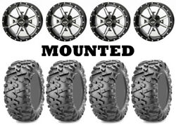 Kit 4 Maxxis Bighorn 2.0 Tires 27x9-14 On Frontline 556 Machined Wheels Sra