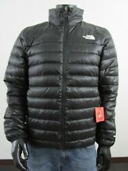 Mens TNF The North Face Flare 550-Down Insulated FZ Puffer Jacket - Black White