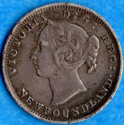 Canada Newfoundland 1894 5 Cents Five Cent Small Silver Coin - Very Fine