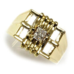 0.8 Ctw Natural Princess Diamond Solid 14k Yellow Gold Wide 5 Stone Ring For Men