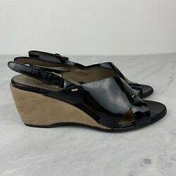 Anyi Lu Shoes 9 Womens Black Patent Leather Wedge Sandals Made In Italy