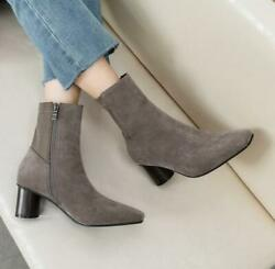 Womenand039s Fall Winter Blcok Mid-heeled Ankle Boots Solid Color Simple Wlid Booties