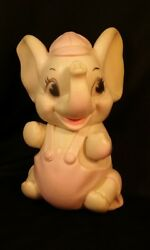 1960's Sanitoy Elephant Rubber Squeaky Toy Made In Usa