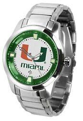 Miami Hurricanes Mens Titan Steel Watch With Dog Tag And Player Wallet