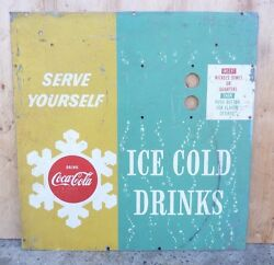 Old Coke Sign Drink Coca Cola Ice Cold Drinks Serve Yourself Soda Machine Ad