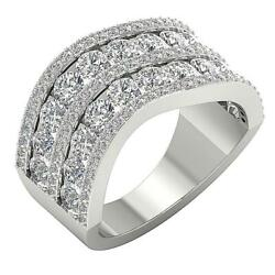 Genuine Diamond Engagement Ring Band Si1 G 4.30 Ct 14k Solid White Gold 11.05 Mm