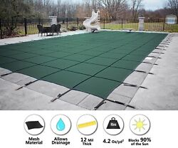 Gli Secur-a-pool Green Mesh Rectangle Swimming Pool Safety Cover - Choose Size