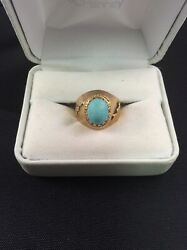 Antique 18kt Yellow Gold Native American Natural Turquoise Ring Very Rare