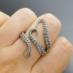Handmade Unique 925 Sterling Silver Octopus Tentacle Wrap Ring Size Adjustable