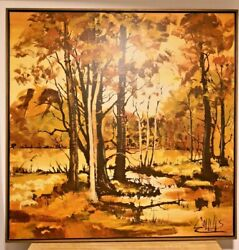 Vintage Forest Scene Canvas Painting At Mid Century - Signed By Collins