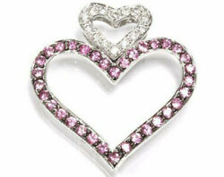 1.1 Ctw Natural Pink Sapphire And Diamond Solid 14k White Gold Hearts Pendant 1.1