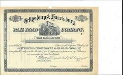 Gettysburg And Harrisburg Railroad Company...1880and039s Unissued Stock Certificate
