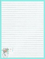 Teal Bordered Bicycle Lined Stationery 8.5x11 25 Sheets And 10 Color Envelopes