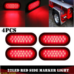 4x 6 Red Oval 22 Led Rv Truck Trailer Tail Lights Turn Stop Brake Waterproof