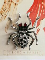 AD144 Art Deco Vintage Silver Plated Crystal Ruby Black Rhinestone Spider brooch