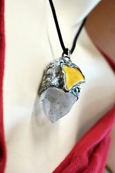 AMBER PENDANT GIANT ROUGH CRYSTAL EGG YOLK AMBER NECKLACE LONG MADE IN EUROPE