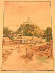 Thai Artist. Watercolor On Paper. Phu Khao Thong / Temple Of The Holy Mount.