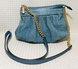 B Makowsky Crossbody Small Blue Leather Soft Reptile Evening Gold Chain Strap $20.98