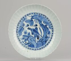 Antique Chinese Porcelain 16/17th C Kraak Porcelain Dish With Bird Of Prey