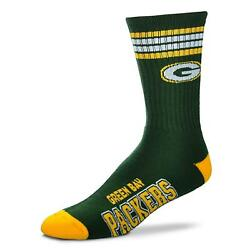 Green Bay Packers Socks Adult 4 Stripe Team Color Quarter 1 Pair Size Large