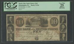 3rd Bank Of The United States Phila. Pa 10 Dec 11838 Pcgs 25 Vf Hw5419