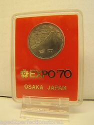 Osaka Japan Exp 70 Coin Medallion Orig Display Case Stand Exposition Wf 1970