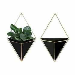 Geometric Wall Planter Set of 2 Decorative Hanging Planters with Brass Decor