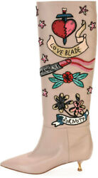 Valentino Loveblade Embroidered Leather Knee Boots In Poudre