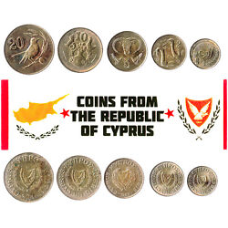 5 Cypriot Coins. Different Coins. Middle East. Foreign Currency Valuable Money