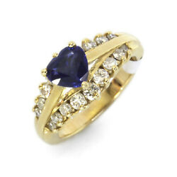 1.6 Ctw Natural Sapphire And Diamond Solid 14k Yellow Gold Heart Engagement Ring