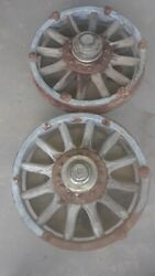 Antique Early 1900's Wooden Cadillac Wheels W/ Center Cap