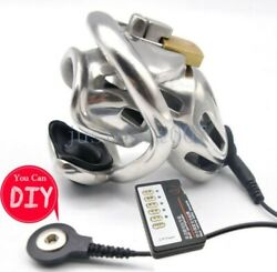 Male Stainless Steel Chastity Cage Embedded Electric Chastity Lock-belt Shock