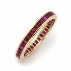 2.5 Ctw Natural Red Princess Ruby Solid 14k Rose Gold Full Eternity Ring 3.5 Mm