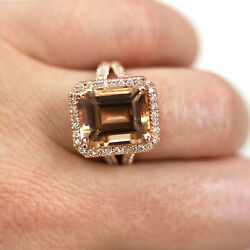8.7 Ct Natural Peach Morganite And Diamond Solid 14k Rose Gold Halo Cocktail Ring