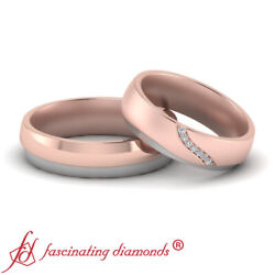 Pave Set Round Cut Diamond Two Tone 7 Stone Wedding Bands For Bride And Groom