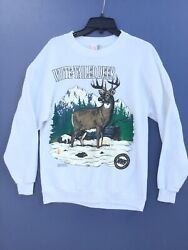 Vintage White Tailed Deer National Wildlife Federation Pullover Sweater Size L