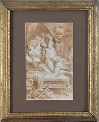 Great Antique Drawing From The Workshop Of Procaccini Lucretia And Tarquinius