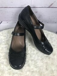 Dansko Black Mary Janes Comfort Shoes Size 41 Hook Loop Closure Cutout design
