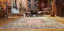 Beautiful Antique Cr1900-1939s Multi-colored Wool Pile Inlice Prayer Rug 4x7ft