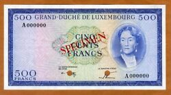 Specimen Luxembourg 500 Francs Nd 1963 P-52a Unc Not Issued
