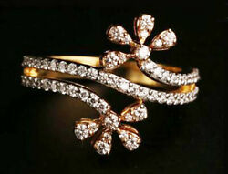 1.32ct Natural Round Diamond 14k Solid Yellow Gold Cluster Ring In Size 7 To 9