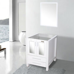 24and039and039 White Bathroom Vanity W/o Top Mirror Table Cabinet For Rectangle Sink Mdf