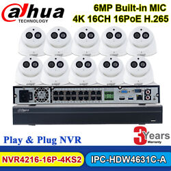 Dahua 16ch Nvr Security System 6mp Dome Ip Camera Ipc-hdw4631c-a Built-in Mic Us