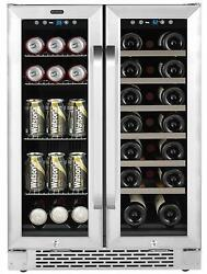 Whynter 24 20 Bottle Wine 60 Can Beverage Cooler Built-in French Door Dual Zone